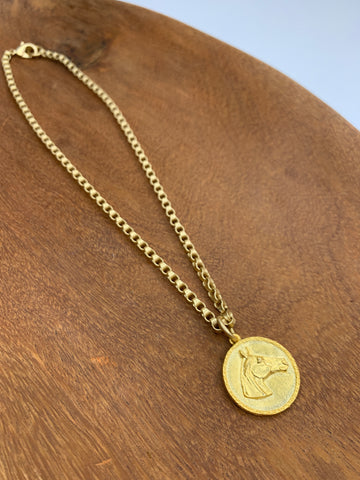 Gold Chain Necklace with Horse Charm