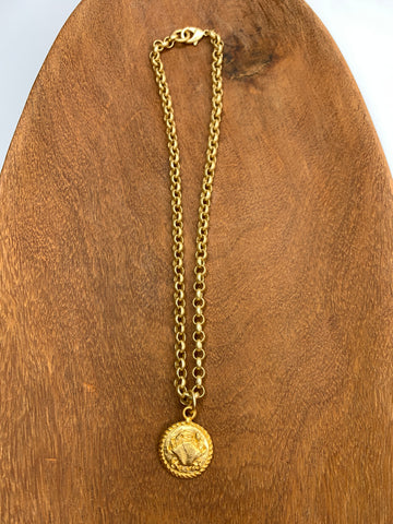 Gold Chain Necklace with Crab Charm