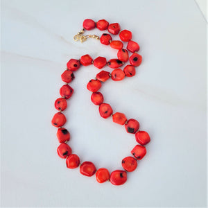 Red Coral Knotted Necklace