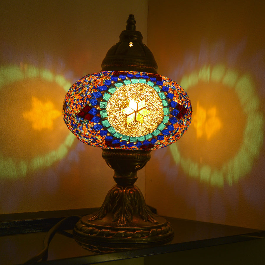 Multicolored Beaded Mosaic Lamp with Blue Stained Glass Sun & Six Point Star | 1006