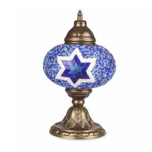 Blue Stained Glass Handmade Turkish Mosaic Lamp with Six-Point Star Pattern