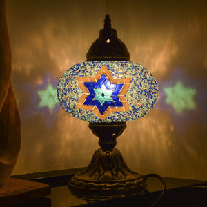 Blue Stained Glass Mosaic Lamp with Six-Point Star Pattern | 1007