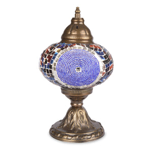 Unique Stained Glass Mosaic Lamp with Circular Beading & Mirror Detail