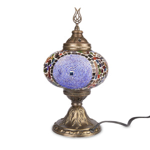 Colourful Stained Glass Mosaic Turkish Lamp with Red Beading | 1017