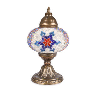 Stunning Handmade Blue/Red/White Stained Glass Turkish Mosaic Lamp | 1018