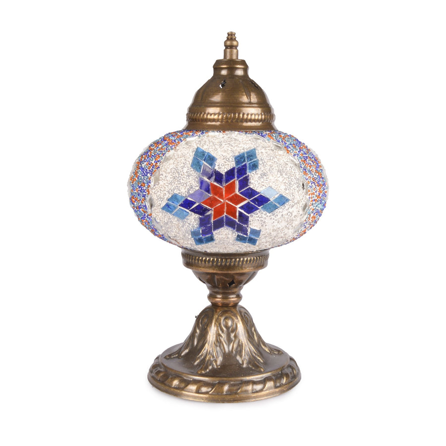 Stunning Handmade Blue/Red/White Stained Glass Turkish Mosaic Lamp star pattern beading