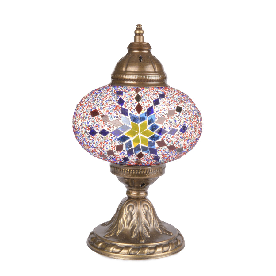 Stunning Blue/Red/Yellow Handmade Stained Glass Turkish Mosaic Lamp with Star Pattern Handbeaded