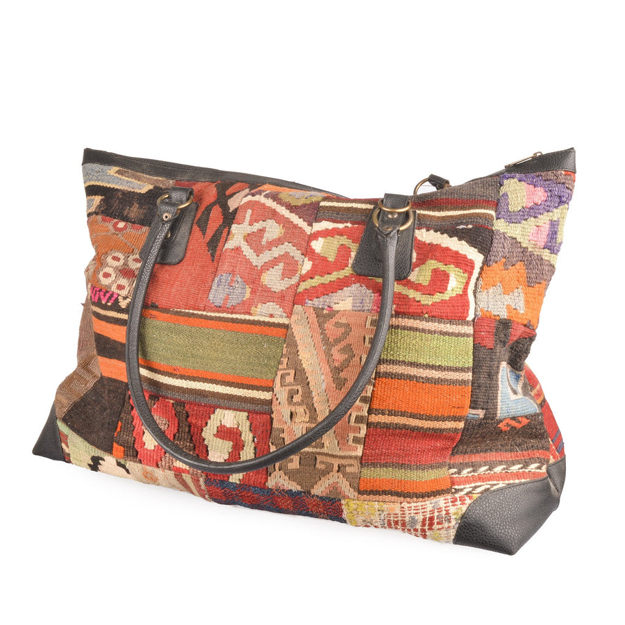 Authentic Turkish Handmade Patchwork Kilim Large Tote Bag Weekend Bag Carry on Luggage Bag