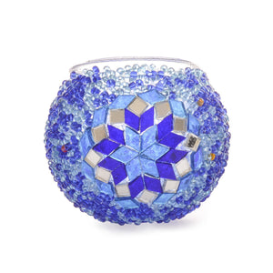 Blue Stained Glass/Beaded Candle Holder Handmade in Turkey Authentic Lost in Amsterdam