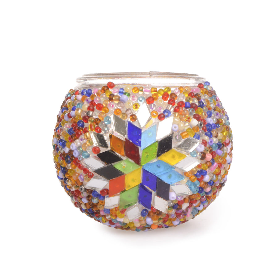 Stunning Bright & Colourful Handmade Turkish Beaded Mosaic Candle Holder with Stained Glass Star Mirror Lost in Amsterdam