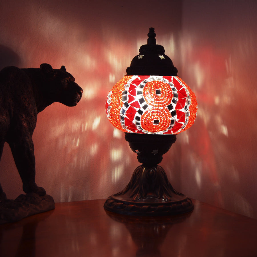 red mosaic lamp | Turkish table lamp | small red  side lamp