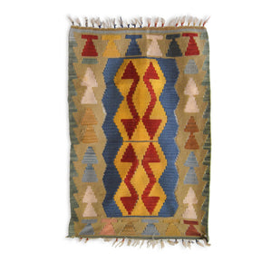 Turkish Kilim - Rug - Sage color geometrical water wave pattern | 70 cm x 110 cm