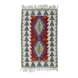 Authentic Turkish Kilim with Protective Evil Eye Symbols | 90 cm X 54 cm