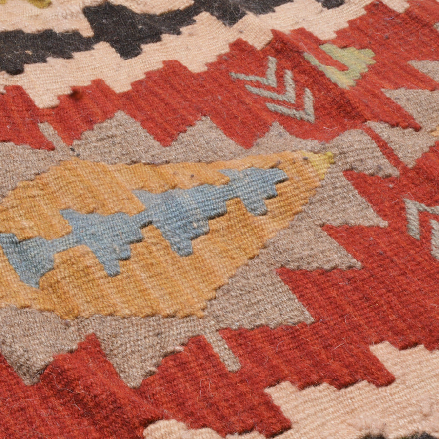 Traditional Turkish kilim - red beige and black colors | 90 cm X 55 cm