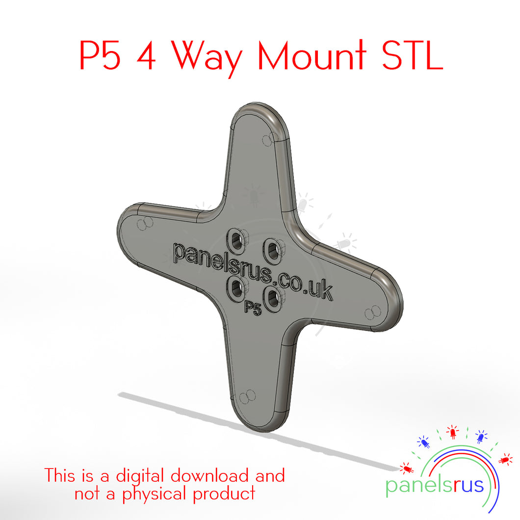 4 Way Mount for P5 Indoor Panels - STL File