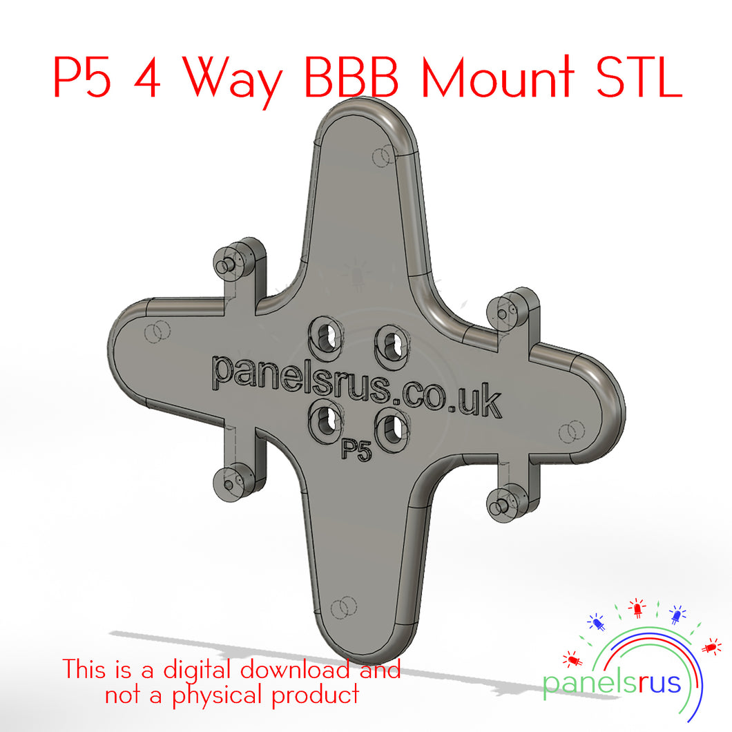 4 Way BBB Mounting Bracket for P5 Indoor Panels - STL File