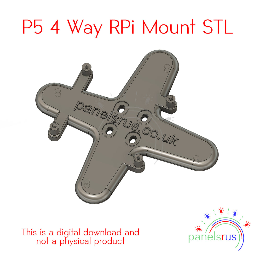 4 Way RPi Mounting Bracket for P5 Indoor Panels - STL File