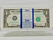 100 CRISP UNCIRCULATED $1 BILLS SEALED IN ACRYLIC CASING.