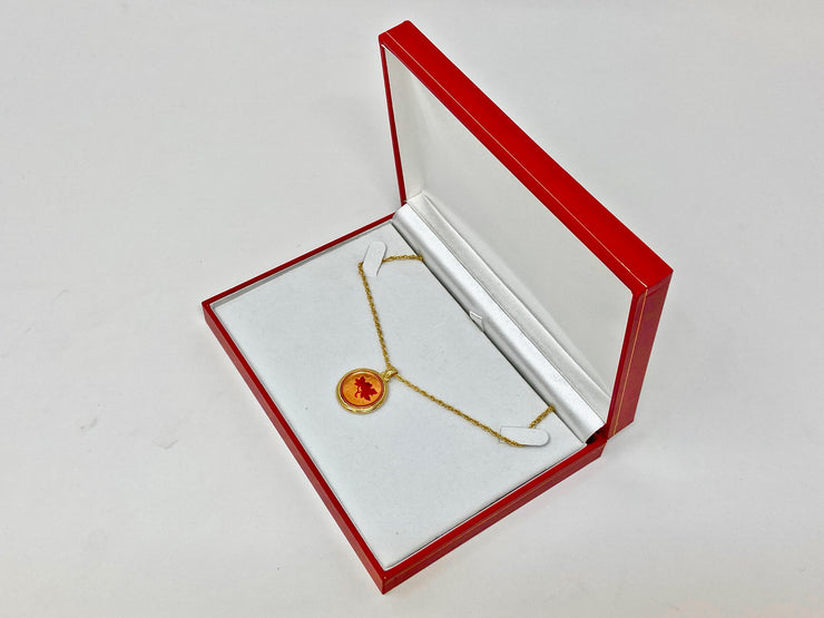 PENDANT BOX - LARGE - (RED & GOLD)