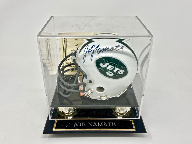 OFFICIAL JOE NAMOTH AUTOGRAPHED MINI HELMET WITH COA