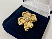 STUNNING VINTAGE 14KT YELLOW GOLD 4 LEAF CLOVER AND DIAMOND BROOCH PIN