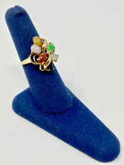 SIZE 6.5 14KT GOLD CLUSTER STYLE RING BEAUTIFUL JADE VARIETIES ALL IN EXCELLENT