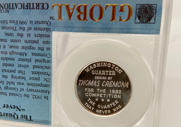 1932 THOMAS CREMONA QUARTER PATTERN DESIGN - IN .999 FINE SILVER AND CUSTOM HOLD