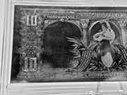 $10.00 BUFFALO NOTE SILVER LEAF TRIBUTE IN .999 FINE SILVER - IN HOLDER W STAND
