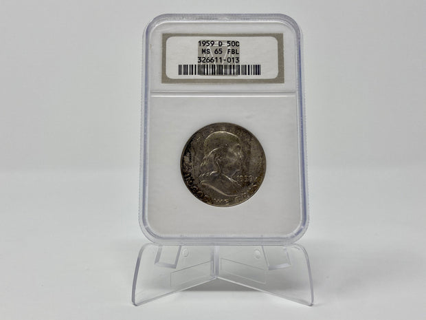 1959 D FRANKLIN HALF DOLLAR MS 65 FBL NGC GRADED HOLDER - LIGHTLY TONED