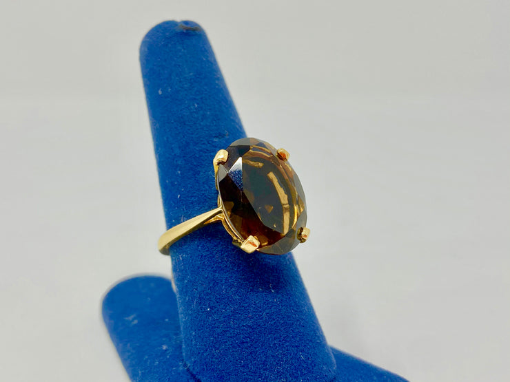 STATEMENT PIECE SMOKEY TOPAZ RING IN 14KT YELLOW GOLD 5.5 GTW - VINTAGE