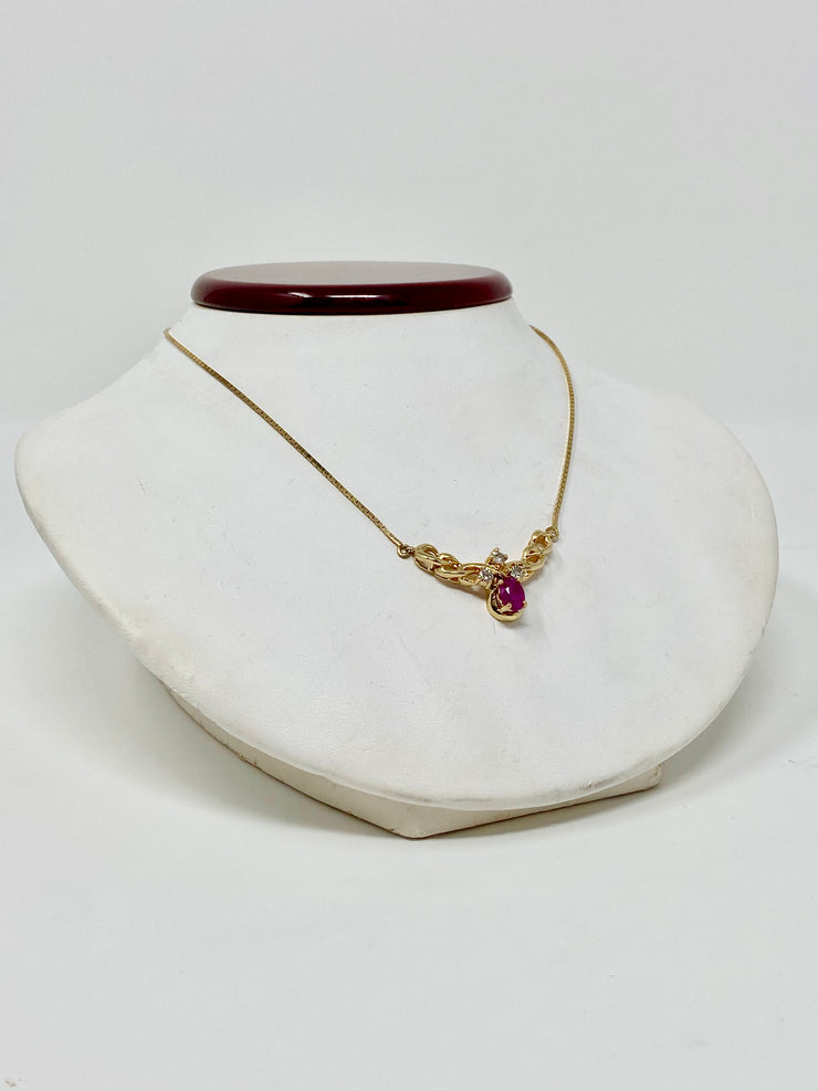 STUNNING CLASSIC RUBY AND DIAMOND 14KT GOLD NECKLACE - VINTAGE DESIGN 8.5GTW