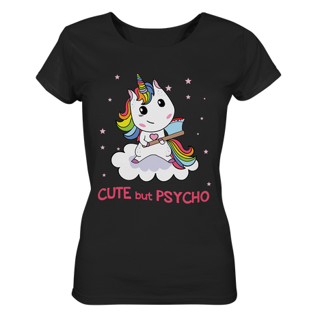 Cute But Psycho Unicorn  - Ladies Organic Shirt - Comics N'More
