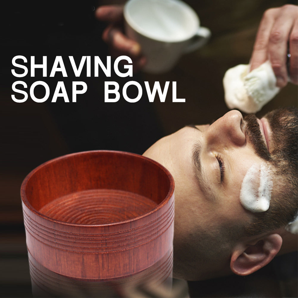 Portable Beard Cleaning Men Cup Bowl Lightweight Brush Anti-adhering Mug Face Care Eco-friendly Shaving Soap Oak Wood
