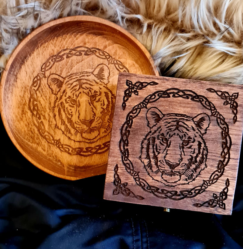 Tiger small Trinket/Dice Bowl, Coaster and Box