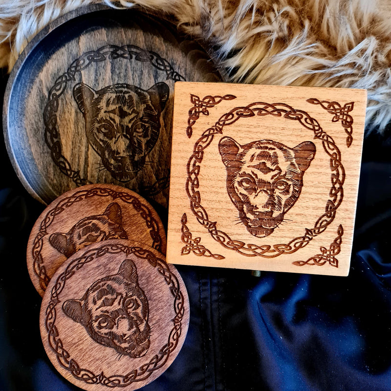 Panther small Trinket/Dice Bowl, Coaster and Box