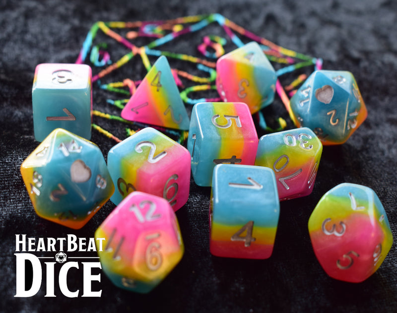 Heart Beat Dice - Pansexual Pride