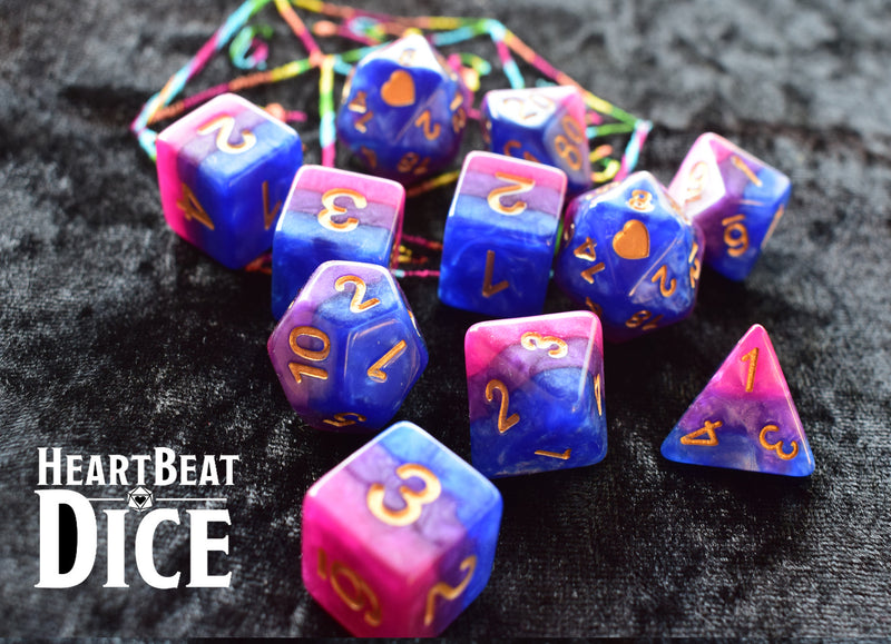 Heart Beat Dice - Bisexual Pride