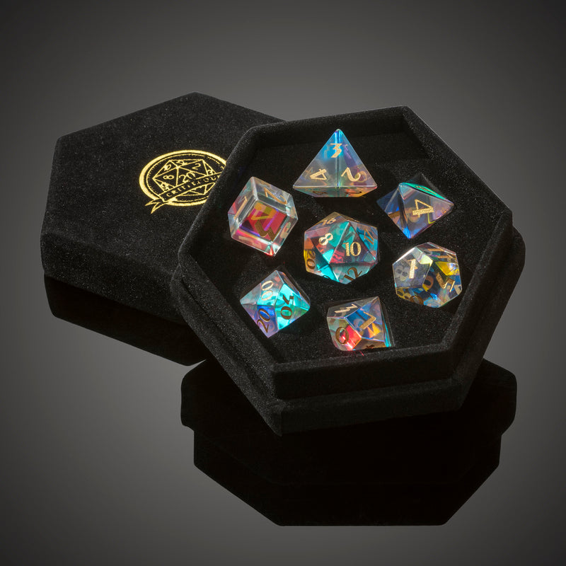 Rainbow Crystal Semi-Precious  Dice Set  - free faux leather gift box upgrade!