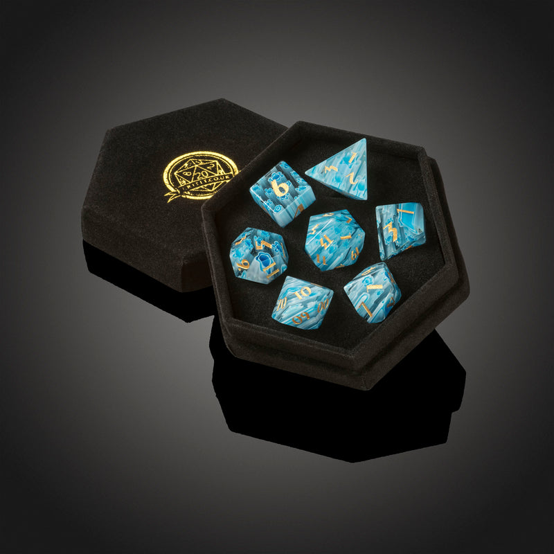 Blue Millefiori Glass Dice