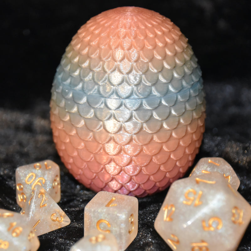 Dragon Egg Dice Box -Peach Pastel- Scales