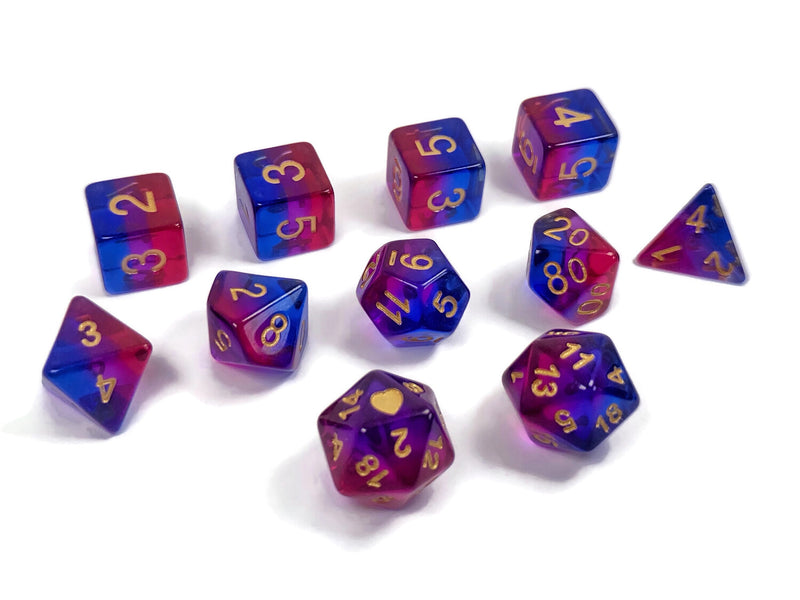 Heart Beat Dice - Translucent Bisexual