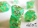 Little Dragon Corp - Wedding Dice Green and Gold with Gold Flakes and Glitter