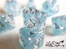 Little Dragon Corp - Wedding Dice Light Blue and Silver with Silver Flakes and Glitter