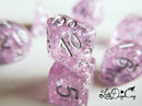 Little Dragon Corp - Wedding Dice Lilac and Silver with Silver Flakes and Glitter
