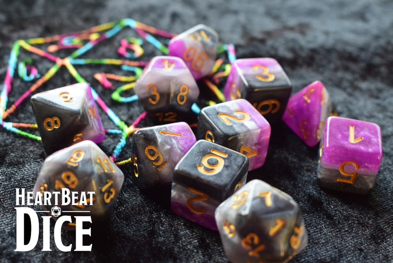 Heart Beat Dice - Asexual Pride