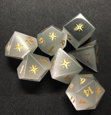White stone Compass engraved Gemstone Dice