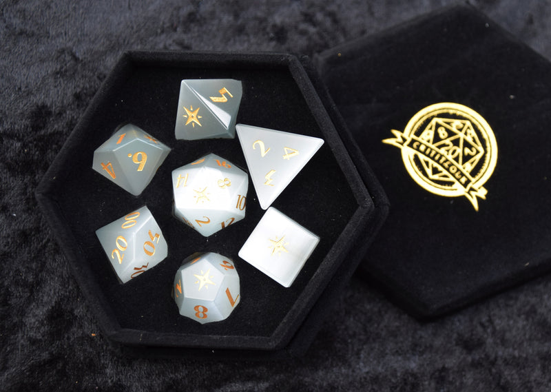 Opalite Compass engraved Gemstone Dice
