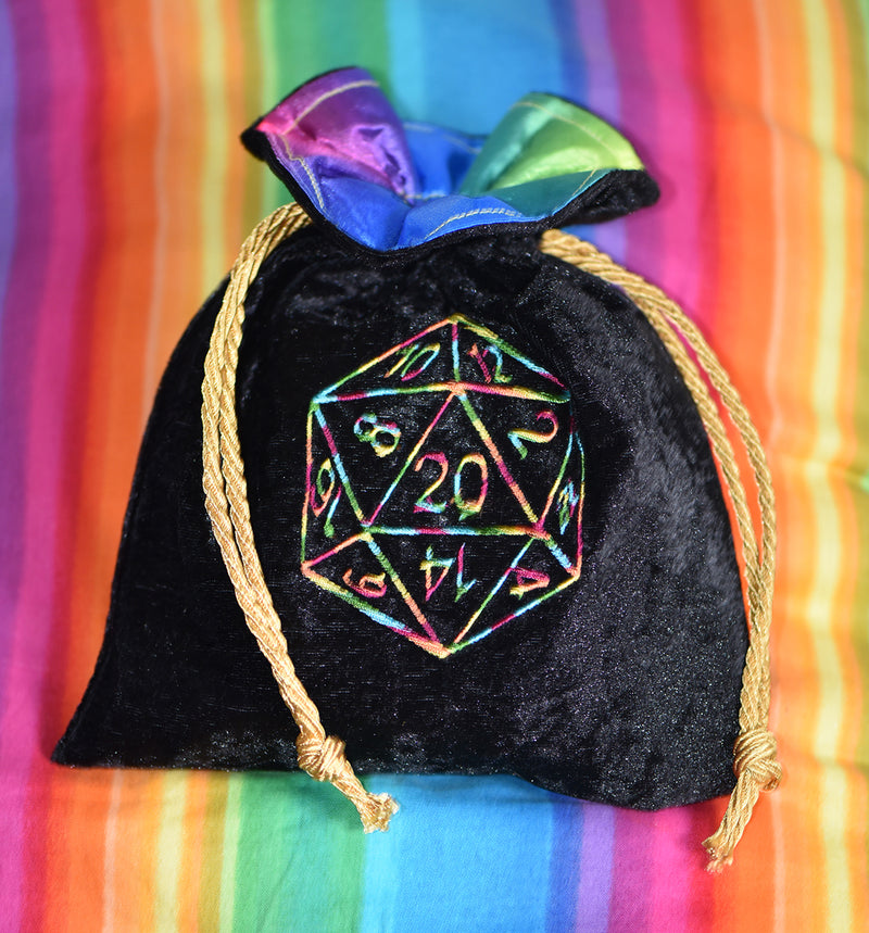 Rainbow Pride D20 Dice Bag