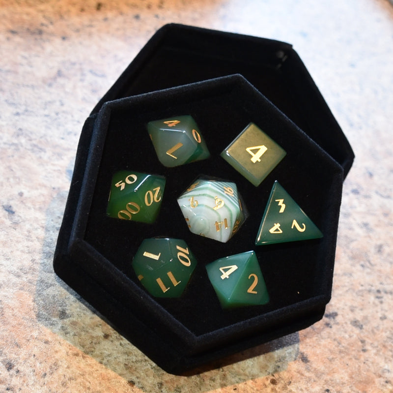Green Agate Gemstone Dice