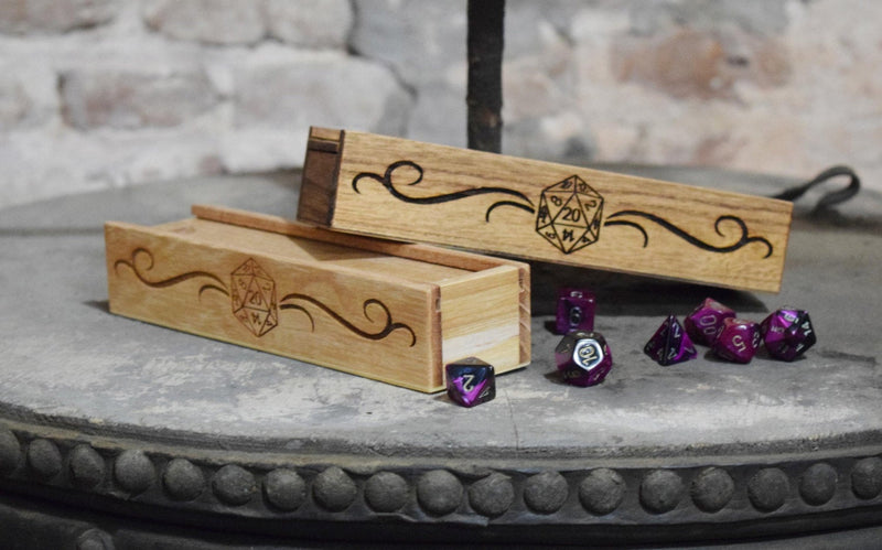 Wooden Dice Sliding lid Pencil Box and Pencil Holder